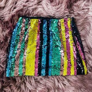 Dresses & Skirts - Sequin Mini Skirt Chic Rainbow Striped Multi L